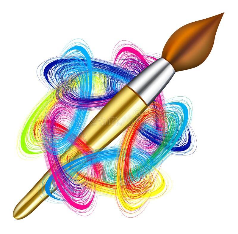 Vector la gama de colores del artista y apliqúela con brocha ilustración del vector