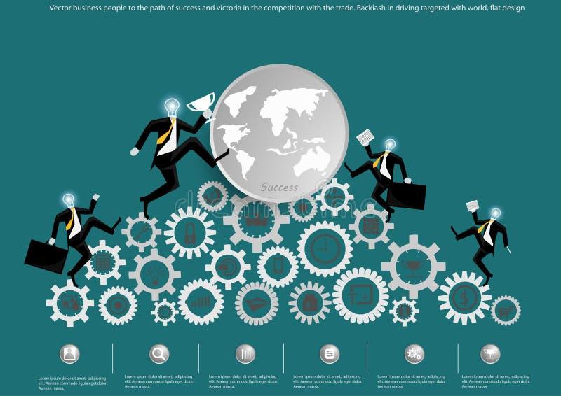 Vector la gente di affari al percorso di successo e della vittoria nella concorrenza con il commercio E royalty illustrazione gratis