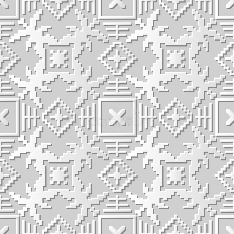Vector la geometría cuadrada del papel 3D del damasco del arte del modelo del mosaico inconsútil del fondo 019 ilustración del vector