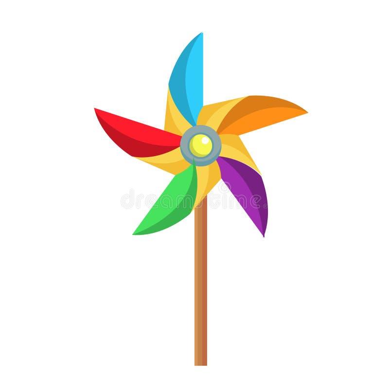 Vector la girandola di carta piana, icona del giocattolo del mulino a vento illustrazione di stock