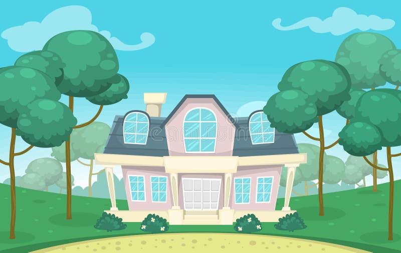 Vector la grande casa bianca d'annata con il giardino intorno illustrazione di stock