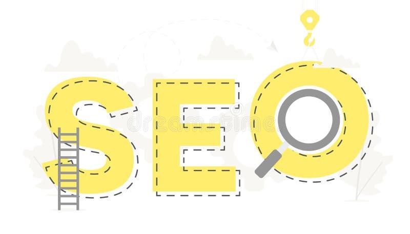 Vector la grande parola SEO e l'insegna di affari dell'ottimizzazione del motore di ricerca per il concetto di progetto Illustraz royalty illustrazione gratis