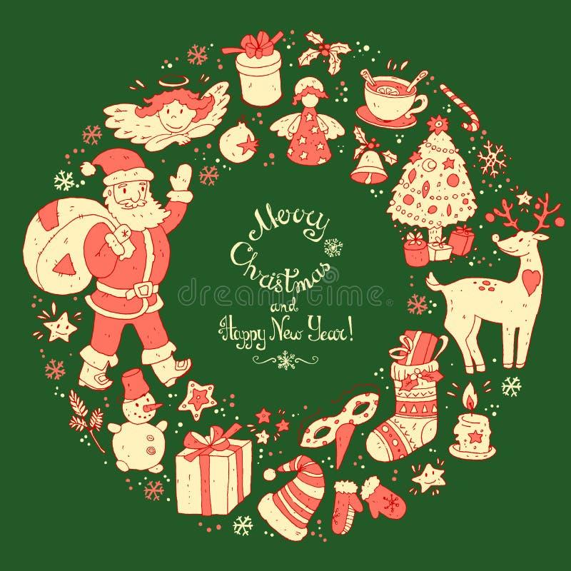 Vector la guirnalda circular, plantilla de la tarjeta de felicitación de la Navidad stock de ilustración