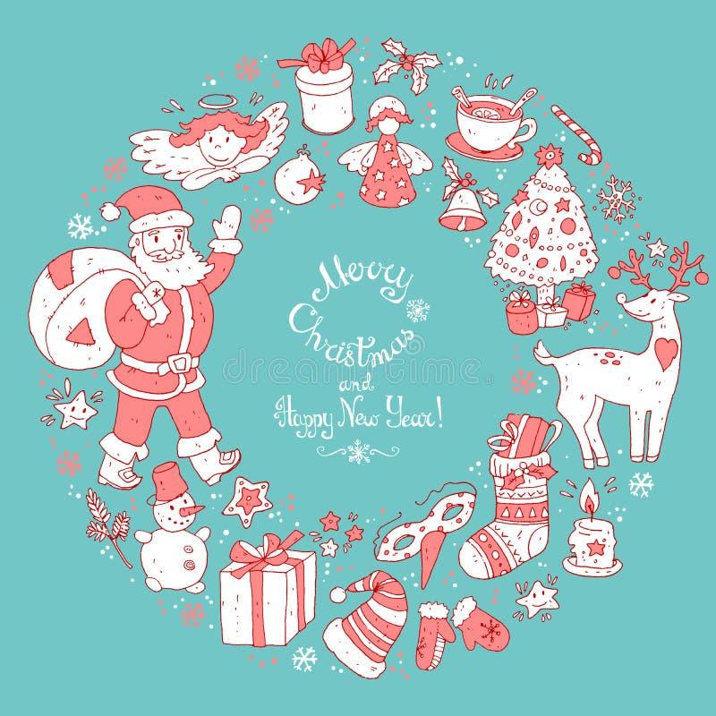 Vector la guirnalda circular, plantilla de la tarjeta de felicitación de la Navidad ilustración del vector