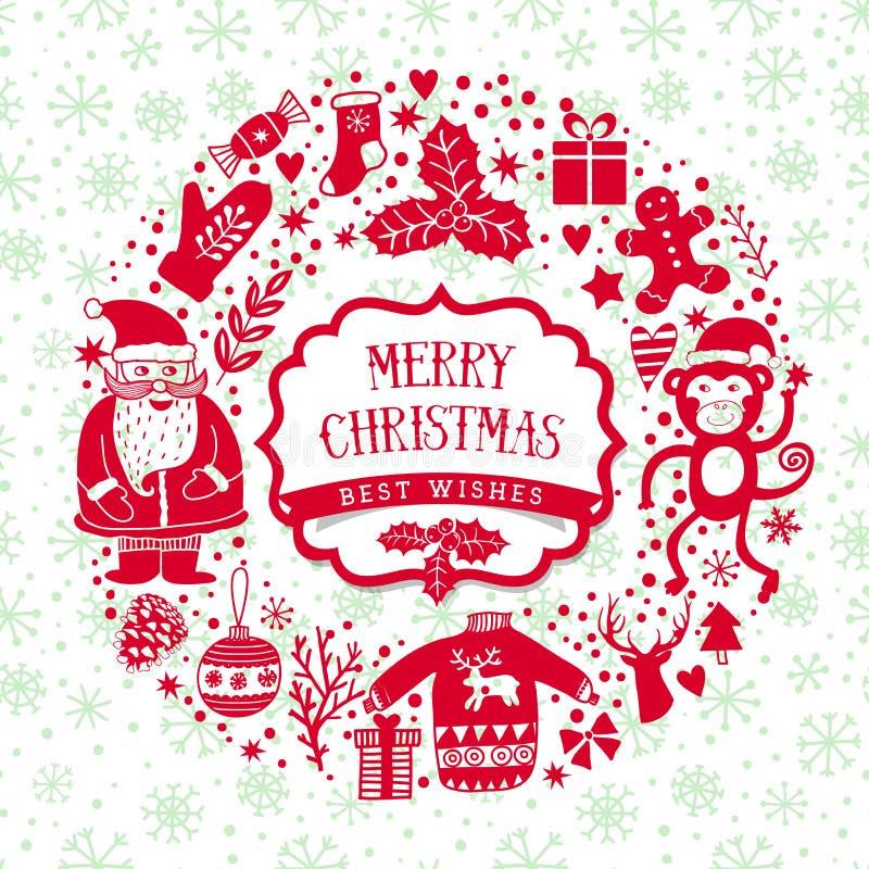 Vector la guirnalda circular, plantilla de la tarjeta de felicitación de la Navidad, Feliz Navidad Diseño de las vacaciones de in stock de ilustración
