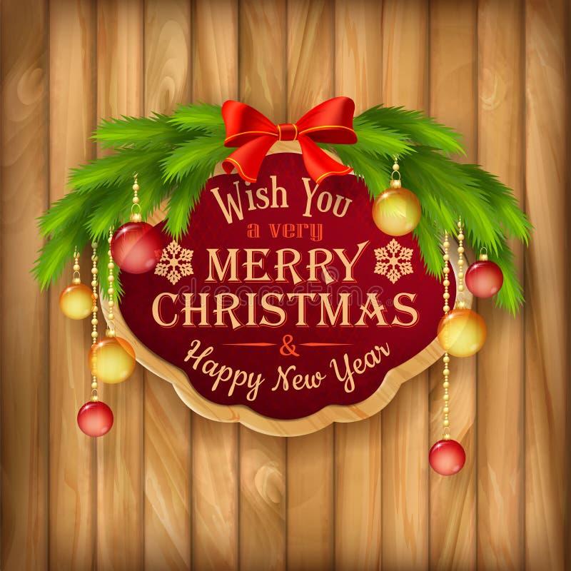 Vector la guirnalda de la Navidad, marco, fondo de las bolas stock de ilustración