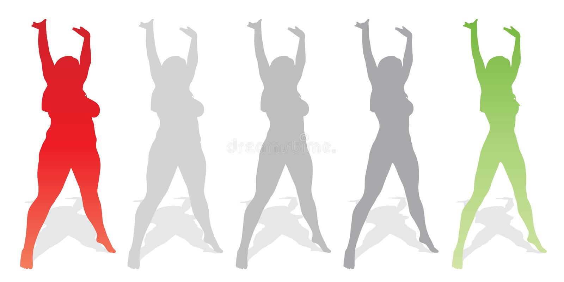 Vector a la hembra gorda gorda contra cuerpo sano del ajustado stock de ilustración
