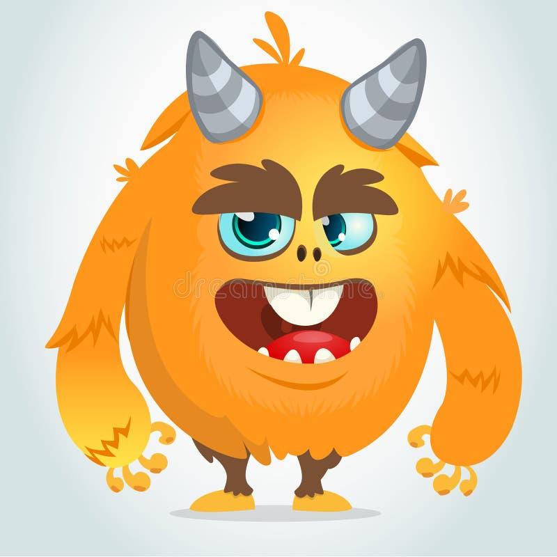 Vector la historieta de un monstruo gordo y mullido anaranjado de Halloween Aislado ilustración del vector