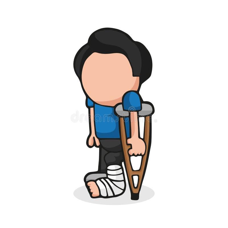 Vector la historieta a mano del hombre que se coloca con la pierna en holdi echado stock de ilustración