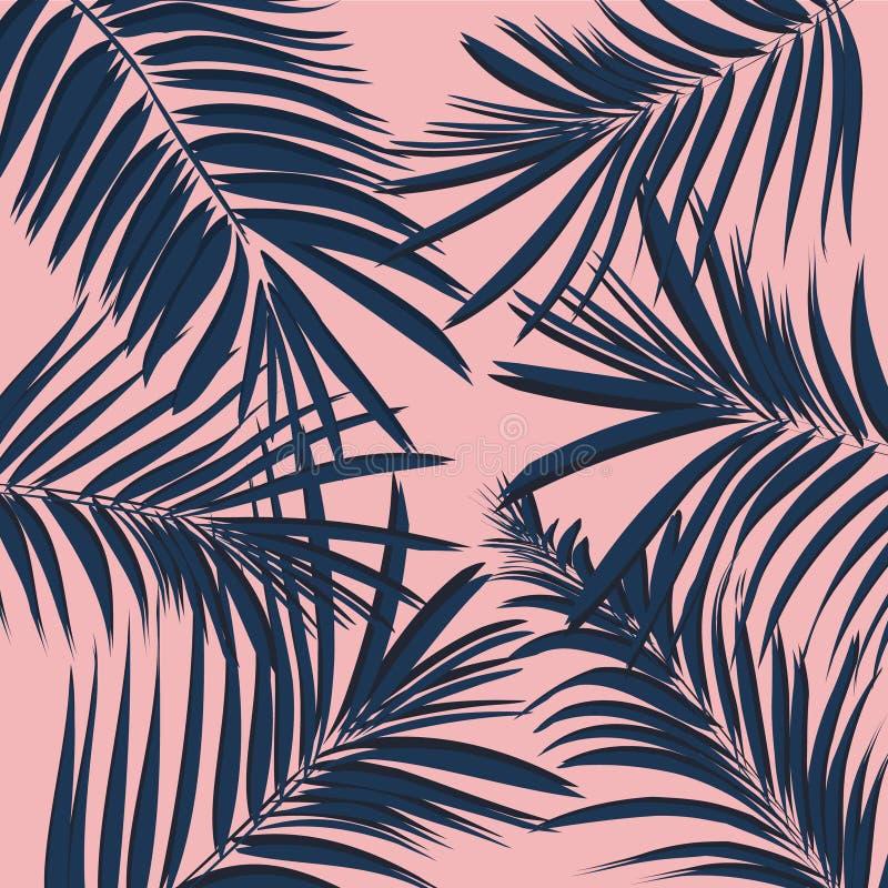 Vector la hoja de palma tropical floral exótica del verano, plátano en estilo azul del rosa de la marina de guerra Fondo moderno  ilustración del vector