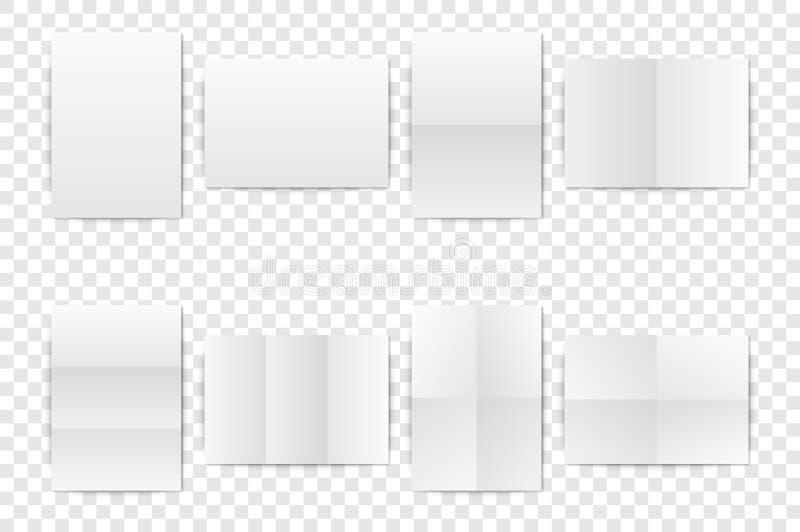 Vector la hoja de papel doblada A4 en blanco blanca realista de la vertical, cartel, primer determinado abierto de la maqueta del libre illustration