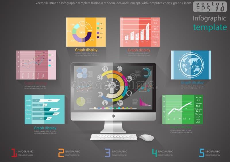 Vector la idea y el concepto modernos del negocio de la plantilla de Infographic del ejemplo con el ordenador, cartas, gráficos,  libre illustration