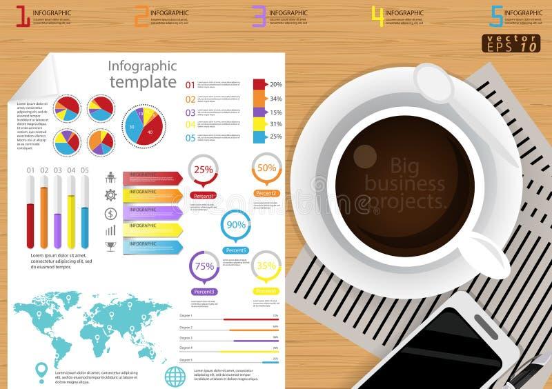 Vector la idea y el concepto modernos del negocio de la plantilla de Infographic del ejemplo con la taza de café, papel, diario,  ilustración del vector