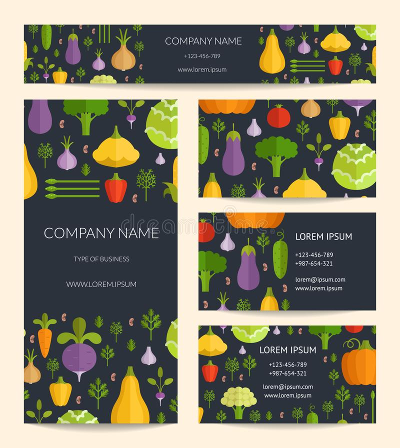 Vector la identidad para la tarjeta sana, del alimento biológico de visita, el folleto y las plantillas de la bandera fijadas con ilustración del vector