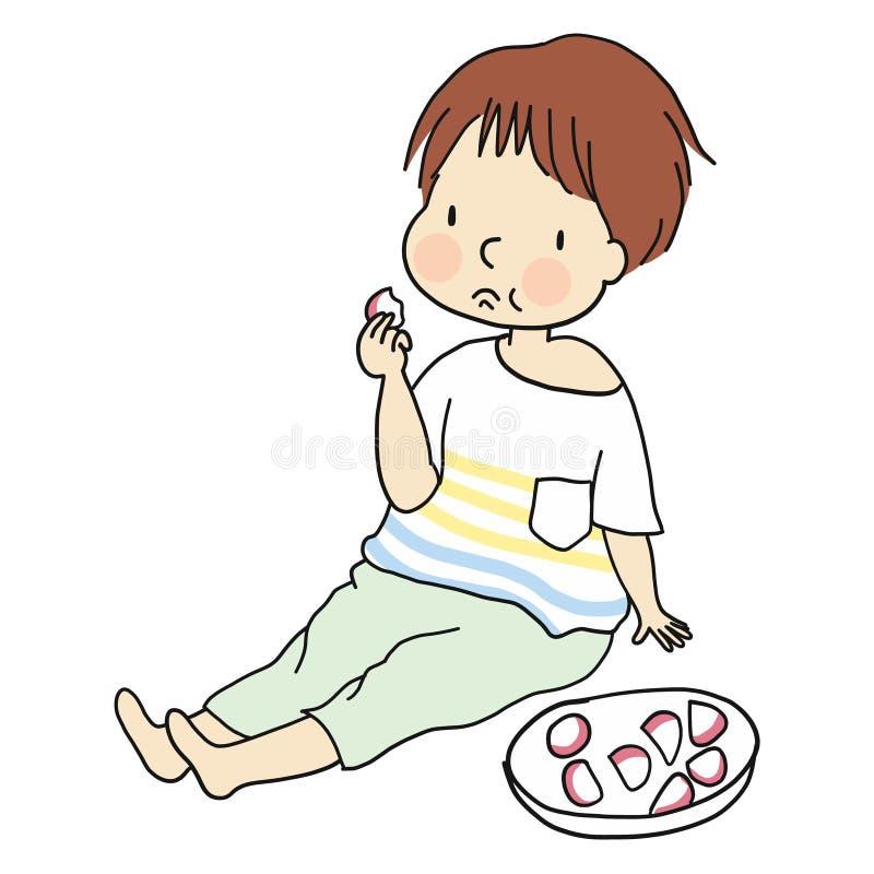 Vector la ilusión del niño que se sienta en piso y que come la comida, bola de pescados en estilo japonés ilustración del vector