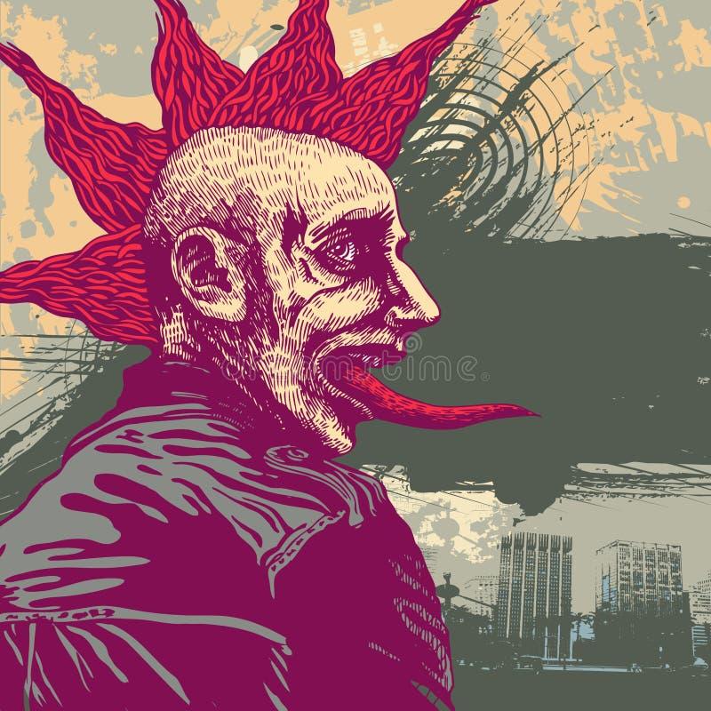 Vector la ilustración con punky joven en styl del grunge ilustración del vector