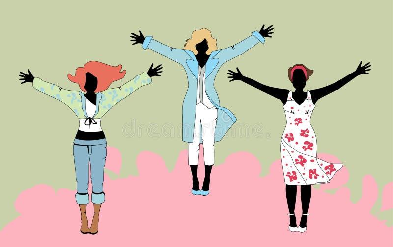 Vector la ilustración de tres mujeres en varios equipos libre illustration