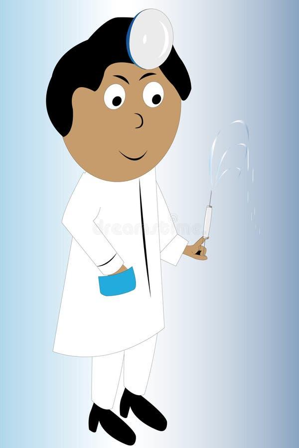Vector la ilustración de un doctor con una jeringuilla stock de ilustración