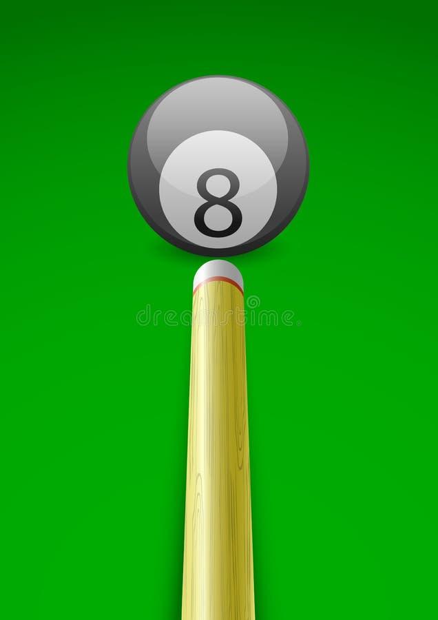 Vector la ilustración de una bola de billar con el palillo ilustración del vector