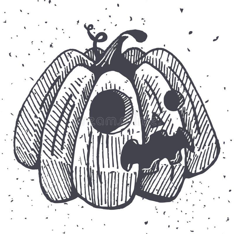 Vector la ilustración de víspera de Todos los Santos calabaza con la emoción libre illustration
