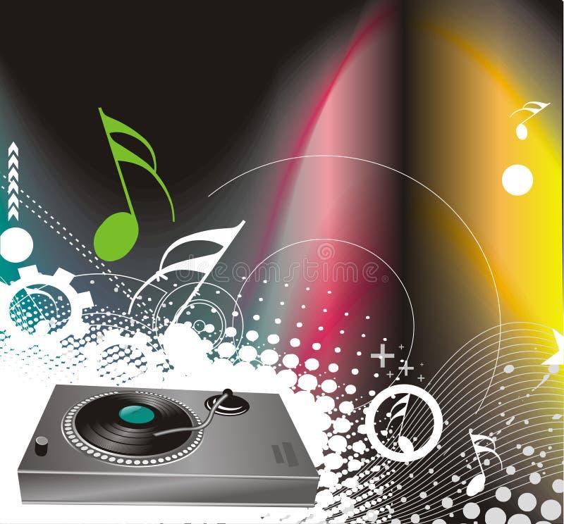 Vector la ilustración en un tema musical con turnta libre illustration
