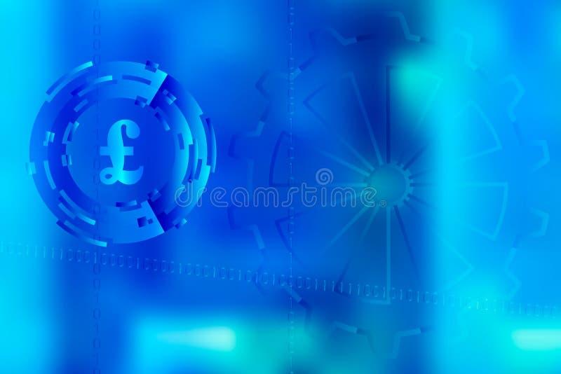 Vector la imagen con el fondo borroso encendido para el ejemplo del movimiento en negocio digital con el sym de la libra esterlin libre illustration