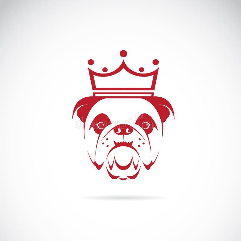 Vector la imagen de la cabeza del dogo que lleva una corona stock de ilustración