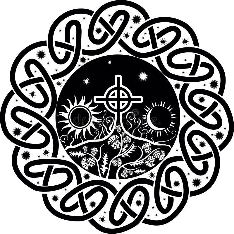 Vector la imagen de la cruz céltica con la luna y el sol libre illustration