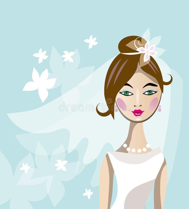 Novia en el vestido blanco stock de ilustración