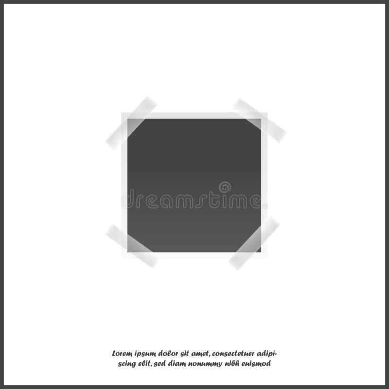 Vector la imagen de un bastidor cuadrado para las fotos Iconos de un icono realista vacío del marco de la foto en el fondo aislad libre illustration