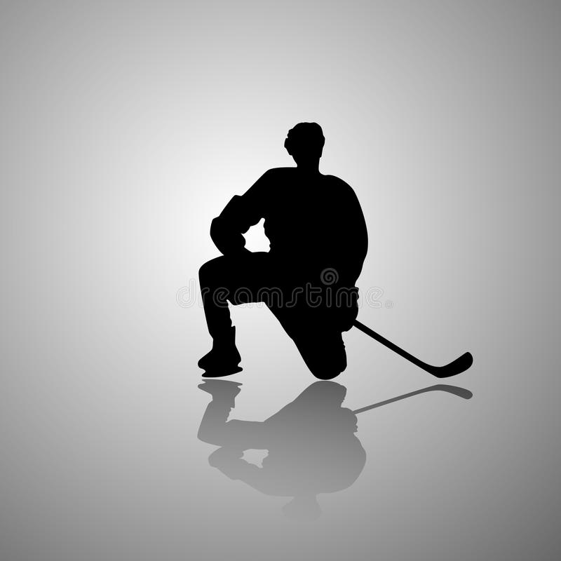 Vector la imagen de un jugador de hockey que se sienta en una rodilla con una sombra del espejo en un fondo gris plano stock de ilustración