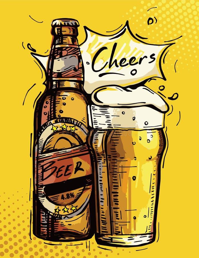 Vector la imagen de una botella de cerveza y de una taza de cerveza en un fondo amarillo stock de ilustración