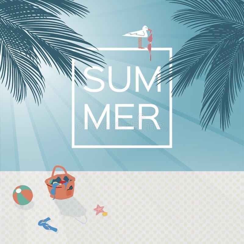 Vector la imagen de una playa con la palmera y el mar Escena de la puesta del sol de la playa Fondo del verano ilustración del vector