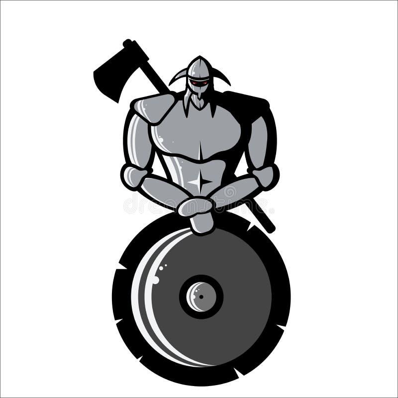 Vector la imagen de Viking de plata con el escudo y el hacha ilustración del vector