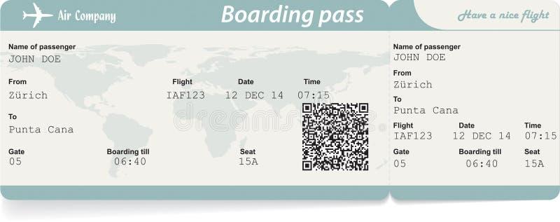 Vector la imagen del boleto del documento de embarque de la línea aérea con stock de ilustración