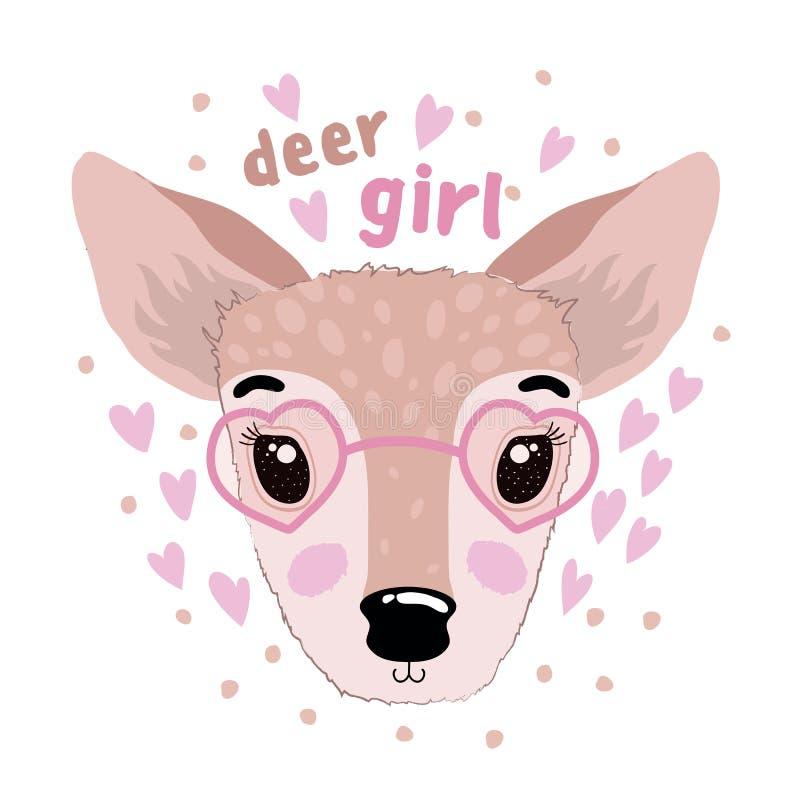 Vector la impresión linda con un animal de la muchacha de los ciervos en el fondo blanco stock de ilustración