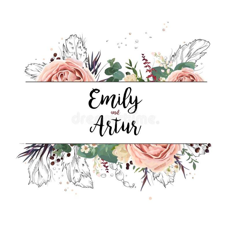 Vector la invitación de la acuarela de la boda del arte del boho de la tarjeta del diseño floral stock de ilustración