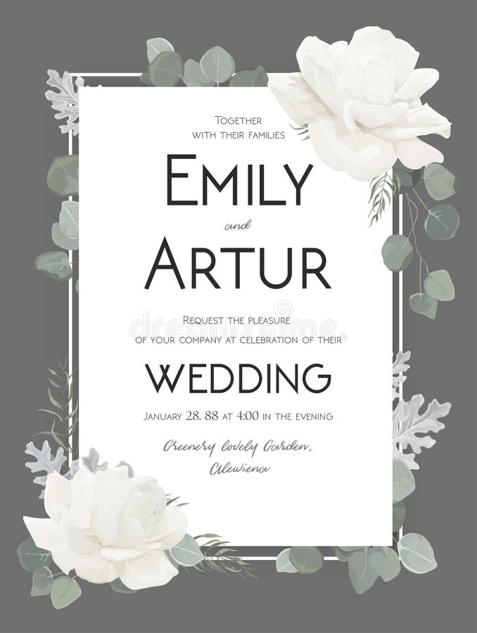 Vector la invitación floral de la boda, invite, ahorre al DES de la tarjeta de fecha libre illustration