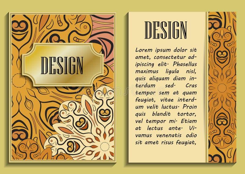 Vector la invitación vertical de lujo del vintage con un modelo y una frontera barrocos hermosos del cordón Diseño de oro libre illustration