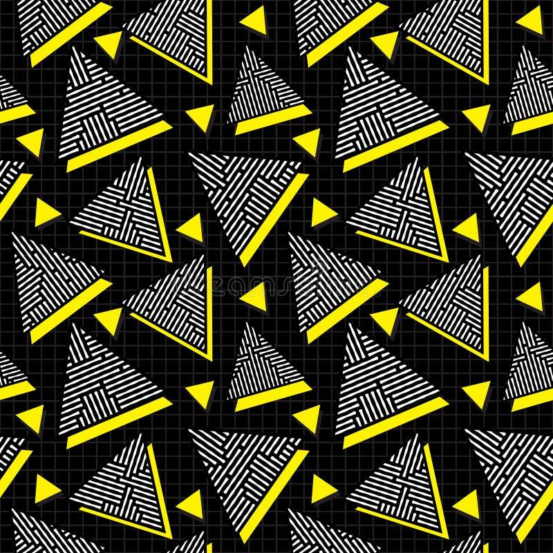 Vector la línea amarilla blanca negra inconsútil modelo del revoltijo del triángulo de los años 80 del vintage en rejilla cuadrad libre illustration