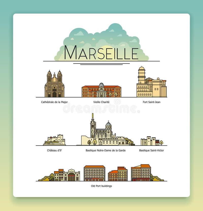 Vector la línea arte Marsella, Francia, señales del viaje y sistema del icono de la arquitectura Los destinos turísticos más popu libre illustration