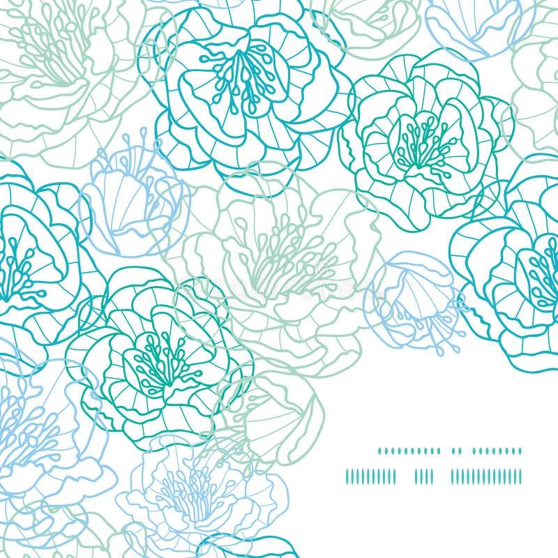 Vector la línea azul modelo de la esquina del marco de las flores del arte libre illustration