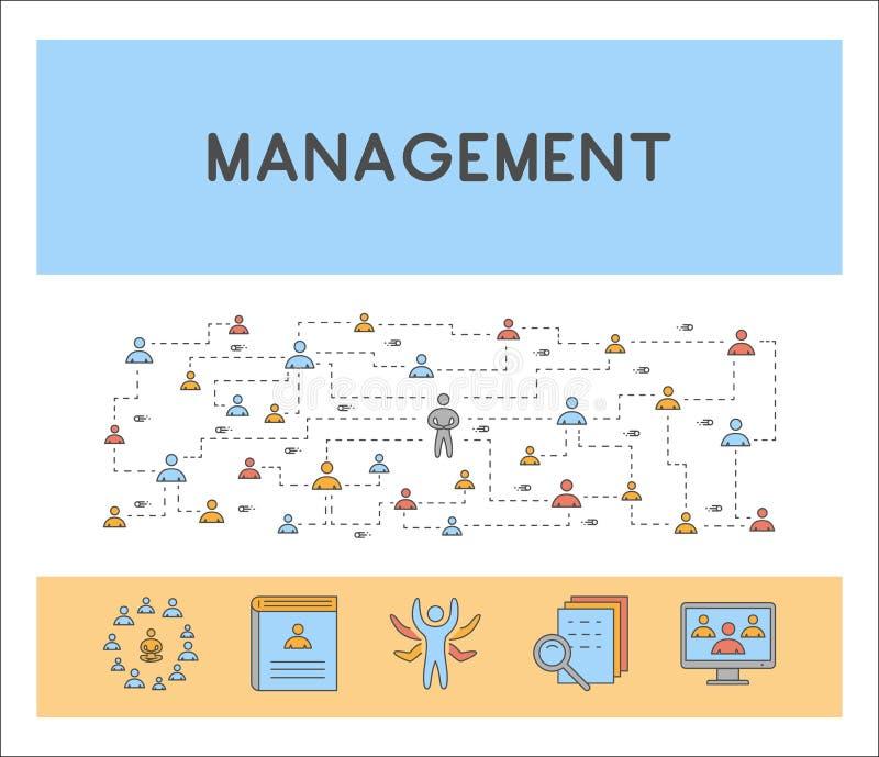 Vector la línea concepto y bandera del web para la gestión ilustración del vector