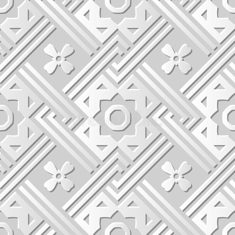 Vector la línea cruzada cuadrada flor del fondo 067 inconsútiles del modelo del arte del papel 3D del damasco stock de ilustración