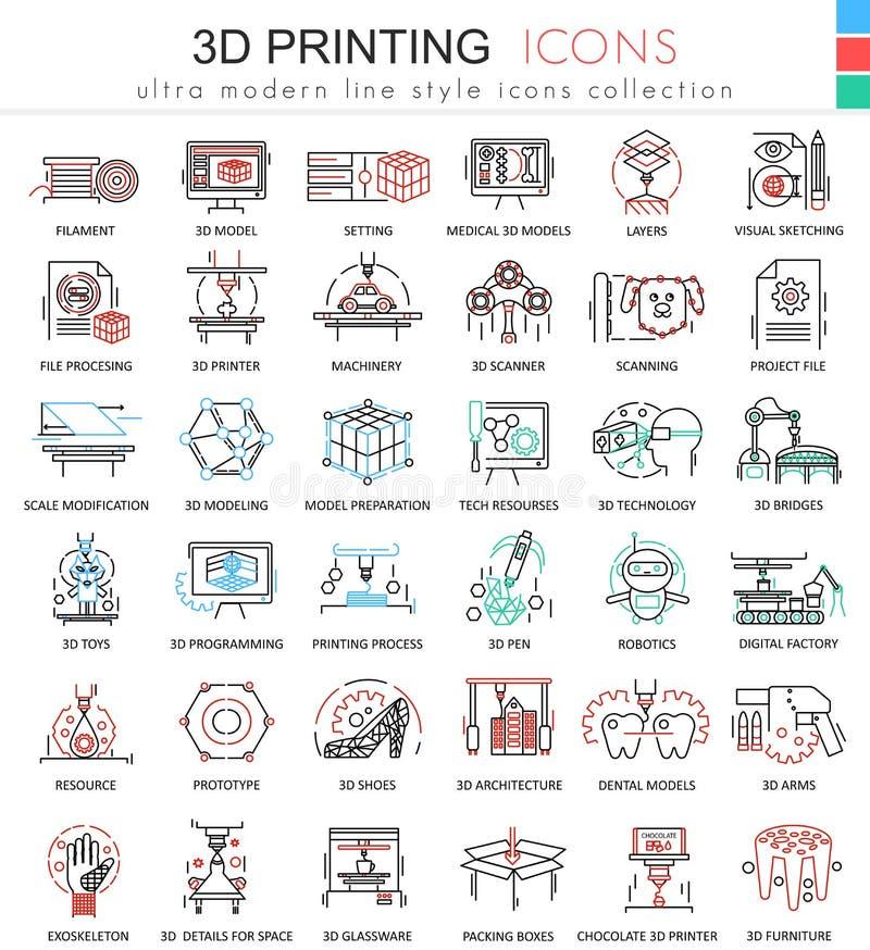 Vector la línea de color de la impresión 3d iconos del esquema para los apps y el diseño web Iconos futuros de la tecnología de l libre illustration