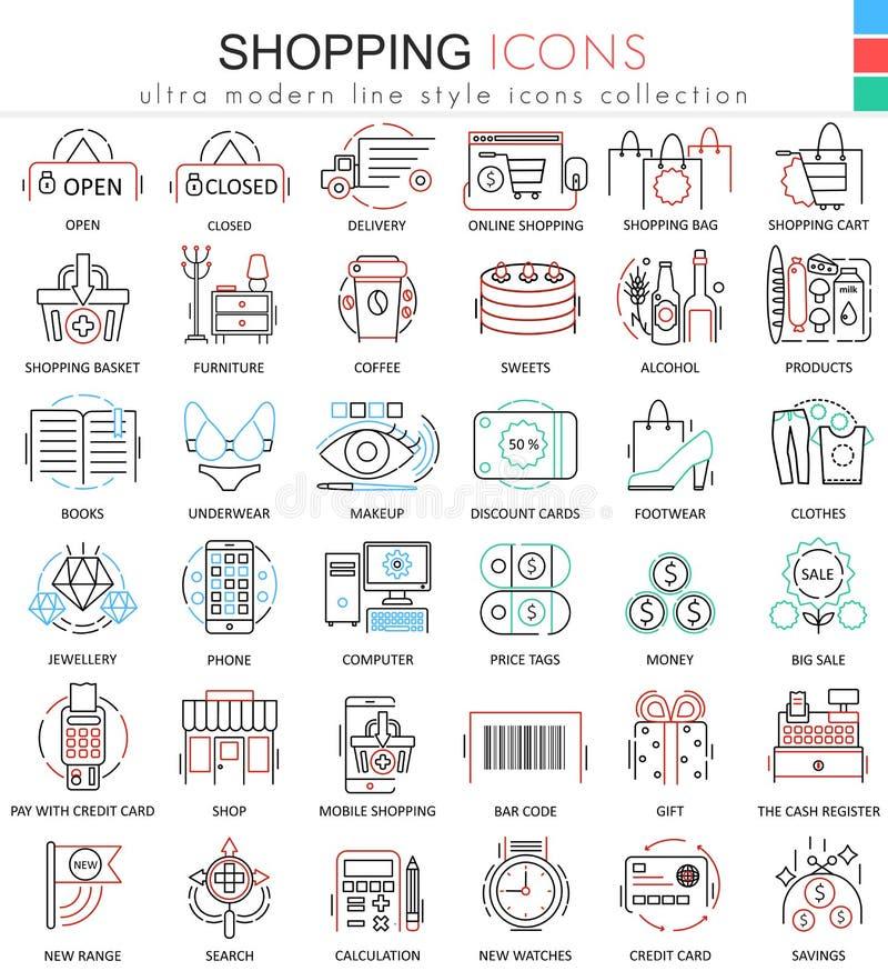 Vector la línea de color del comercio electrónico de las compras iconos del esquema para los apps y el diseño web Iconos del come libre illustration