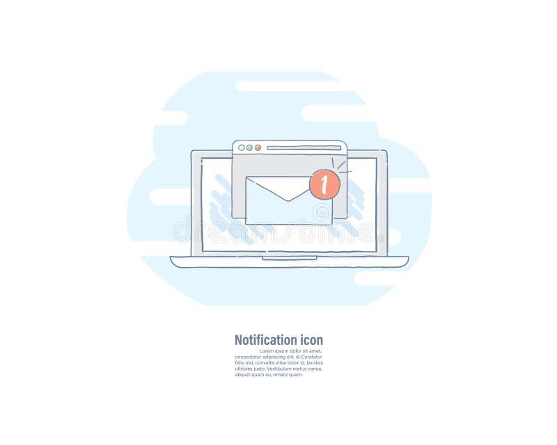 Vector la línea dibujada mano icono plano del ejemplo de la nueva notificación del email en la pantalla del ordenador portátil stock de ilustración