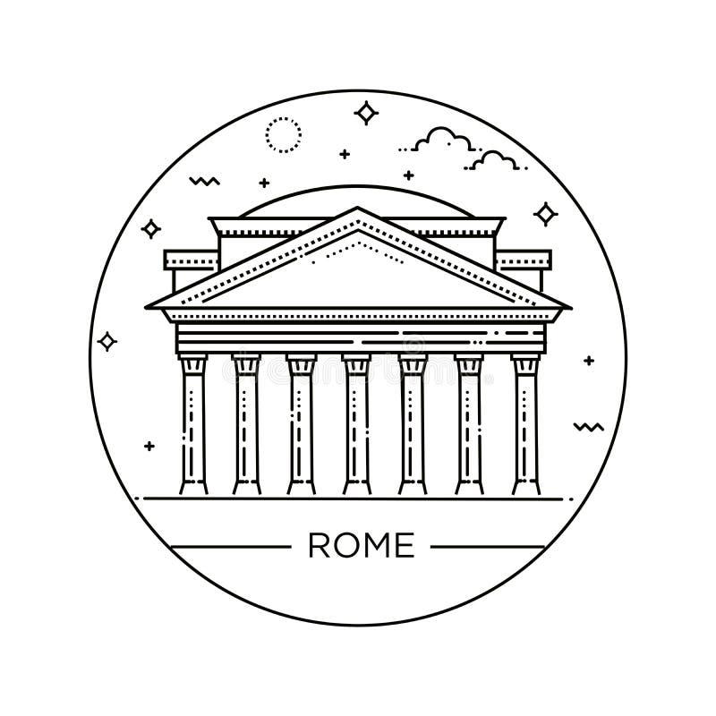 Vector la línea ejemplo de panteón, Roma, Italia ilustración del vector