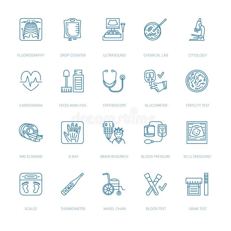 Vector la línea fina icono de equipamiento médico, investigación Chequeo médico, elemento de prueba - MRI, radiografía, glucomete stock de ilustración
