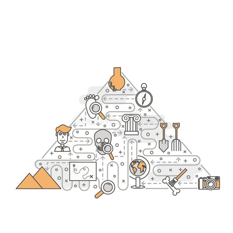 Vector la línea fina plantilla de la bandera del cartel de la arqueología del arte libre illustration